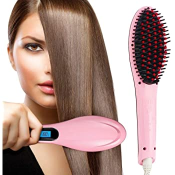 SKYLIT Hair Electric Comb Brush 2 in 1 Ceramic Fast Hair Straightener For Women's Hair Straightening Brush with LCD Screen, Temperature Control Display,Hair Straightener For Women (Pink)