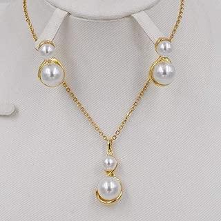 2020 New Unique Gold Necklace Collocation Fashion Circular Pendant Earrings Jewelry For Women In Dubai (Gold-Color - White, 45Cm)