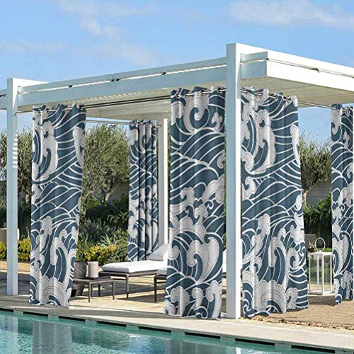 ParadiseDecor Japanese Wave Pergola Outdoor Drapes for Beach Garden Gazebo Hand Drawn Traditional Style Aquatic Doodle River Storm Retro Abstract Slate Blue White 104W x 63L Inch