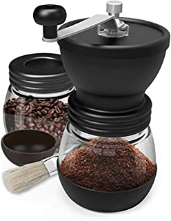 Staroyal Manual Coffee Bean Grinder with Ceramic Burrs Hand Coffee Mill with Two Glass Jars Washable Adjustable Grain Mills