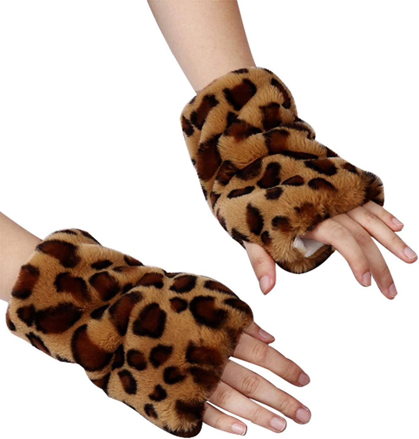 Simsly Womens Winter Faux Fur Gloves Knit Wrist Warmer Fingerless Mittens Thumb Hole Gloves for Winter