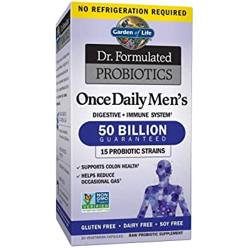 Probiotics For Men - Garden of Life Dr. Formulated Once Daily Men's Probiotics 50 Billion CFU Daily Probiotic For Constipation Relief With Organic Prebiotic, 30 Capsules (Packaging May Vary)