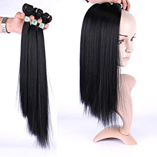 """Hairpieces Hairpieces Fashain Women Silky Straight Hair 3 Bundles Hair Weave Extension - Natural Black (1 Bundle/70g) for Daily Use and Party (Color : Black, Size : 16""""-16""""-16"""")"""