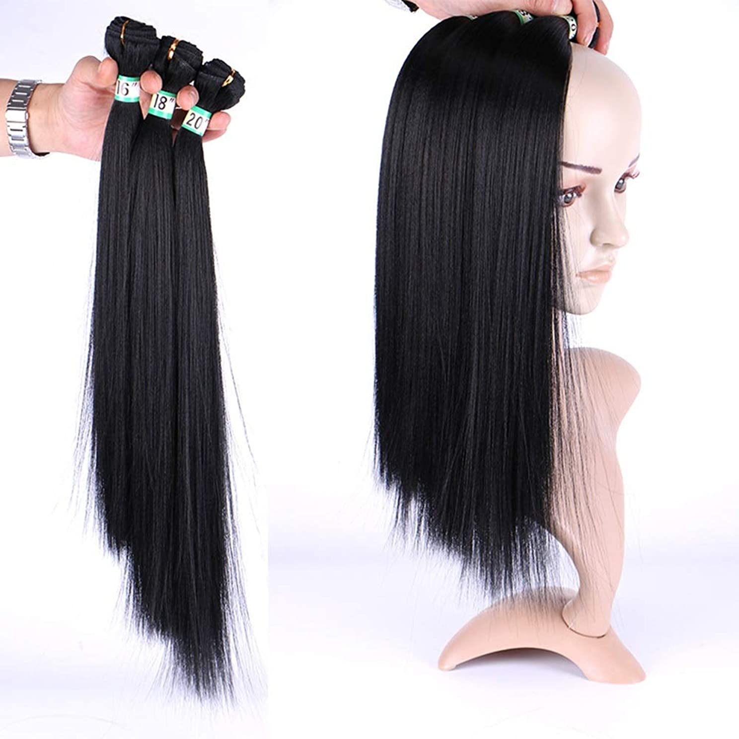 BOBIDYEE 女性のシルキーストレートヘア3バンドル髪織りエクステンション - ナチュラルブラック(1バンドル/ 70g)合成髪レースかつらロールプレイングウィッグロングとショート女性自然 (色 : 黒, サイズ : 20