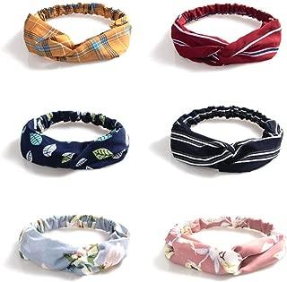 6 Pack Boho Headbands for Women Flower Knotted Cute Turban Hair Band Cross Elastic Headband Hair Accessories