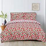 Todd Linens 3 Pcs Floral Poppy Reversible Duvet Cover Set with 2 Pillowcase - Bedroom Decor for Quilts, Comforters with Stud Button Closure | 50-50 Polyester-Cotton Blend (Double)