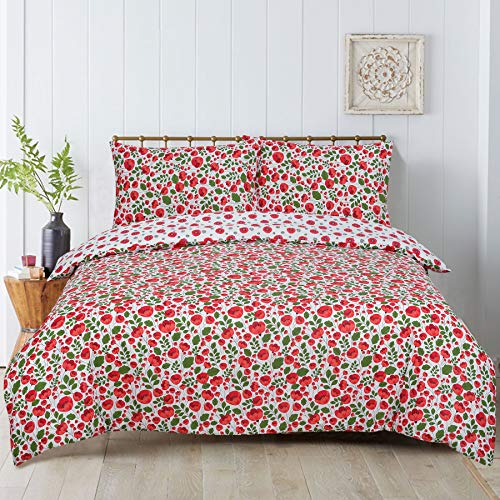 Todd Linens 2 Pcs Floral Poppy Reversible Duvet Cover Set with 1 Pillowcase - Bedroom Decor for Quilts, Comforters with Stud Button Closure | 50-50 Polyester-Cotton Blend (Single)