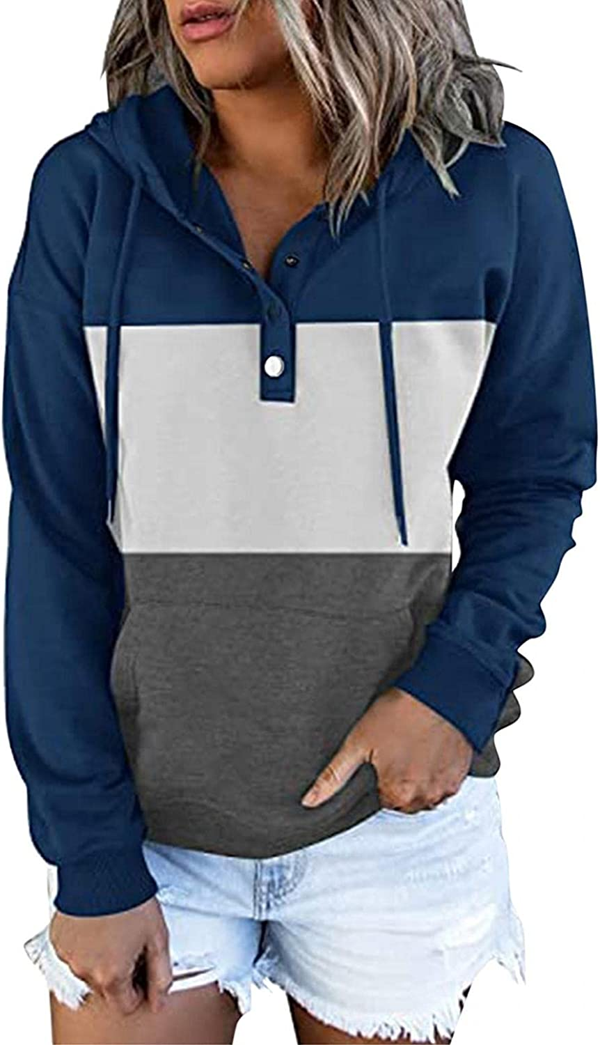 Hoodies for Women Casual Pullover Button Down Hoodies Drawstring Hooded Pocket Long Sleeve Sweatshirts