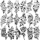 Rejaski 18 Sheets Realistic Black Flower Temporary Tattoos For Women, Kids Sexy Rose Floral Tattoo Temporary Sticker, Adults Sexy Large Carnations Marigold Girls 3D Fake Arm Tatoo Kit Sketch Tatto Set