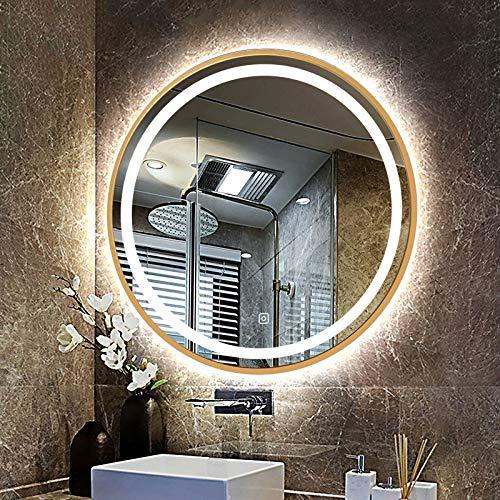 Espejo Baño Pared Redondo con Marco Negro/Dorado, Espejo de Maquillaje con Luz LED, Entrada, Dormitorio, Baño, Espejo de Decoración Espejo de Vanidad