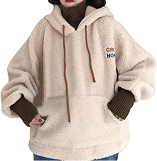Lataw Girls Hooded Women Fashion Pullover Autumn Winter Fake Two Piece Tops Sweatshirt Long Sleeve Blouse Soft Clothes Tunics