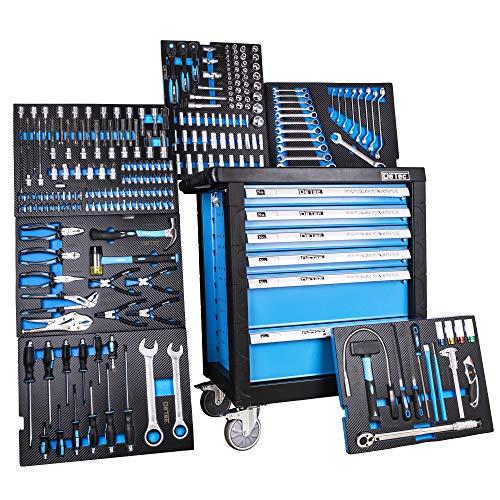DeTec. 3066 Werkstattwagen bestückt 6/6 Schubladen gefüllt mit Werkzeug Carbon Einleger