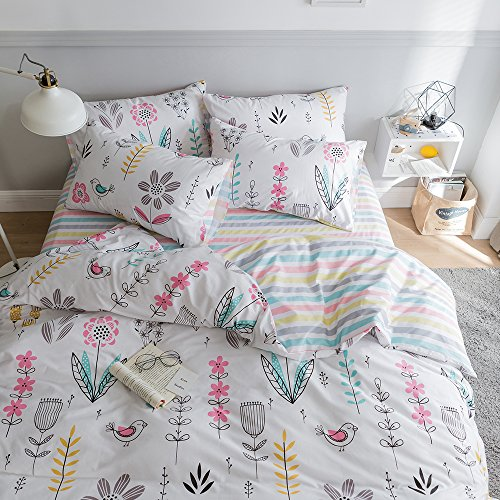 HIGHBUY Floral Printed Bedding Sets Queen Duvet Cover Girls Cotton Comforter Cover Full Size Fresh Garden Design Reversible Striped Bedding Sets 3 Piece Full Bed Comforter Cover Duvet Cover Set