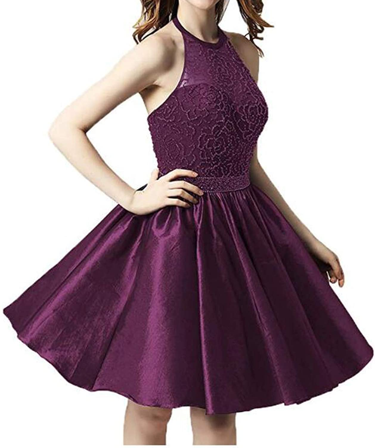 Alilith.Z Sexy Halter Beading Homecoming Dresses 2018 Short Prom Dresses Party Gowns for Women