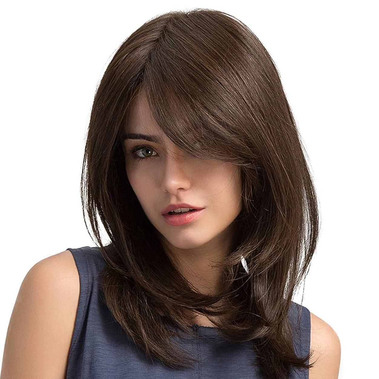 先祖アナニバー悪夢ファッションかつら 茶色 波状の髪 合成ウィッグ 耐熱性
