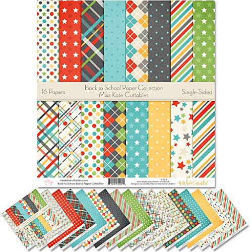 Pattern Paper Pack - Back to School - Scrapbook Premium SpecialtyPaper Single-Sided 12'x12' Collection Includes 16 Sheets - by Miss Kate Cuttables