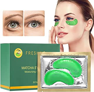 FRESHME Matcha Eye Mask - 20 Pairs Under Eye Patches Aloe Vera Extract Gel Masks for Anti Aging Reduce Puffiness Dark Circles Hyaluronic Acid Deep Hydration Eye Pads Treatment Mask for Women and Men
