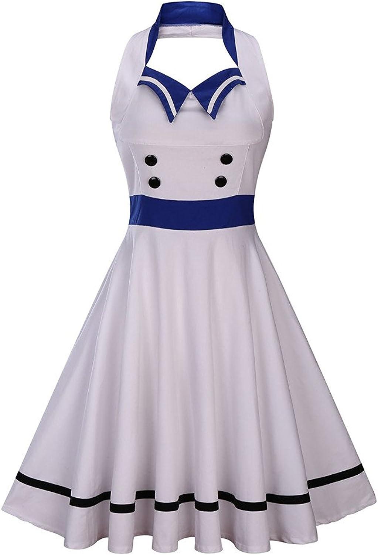 Wellwits Women's Vintage Pin Up Sailor Collar Halter Swing Dress