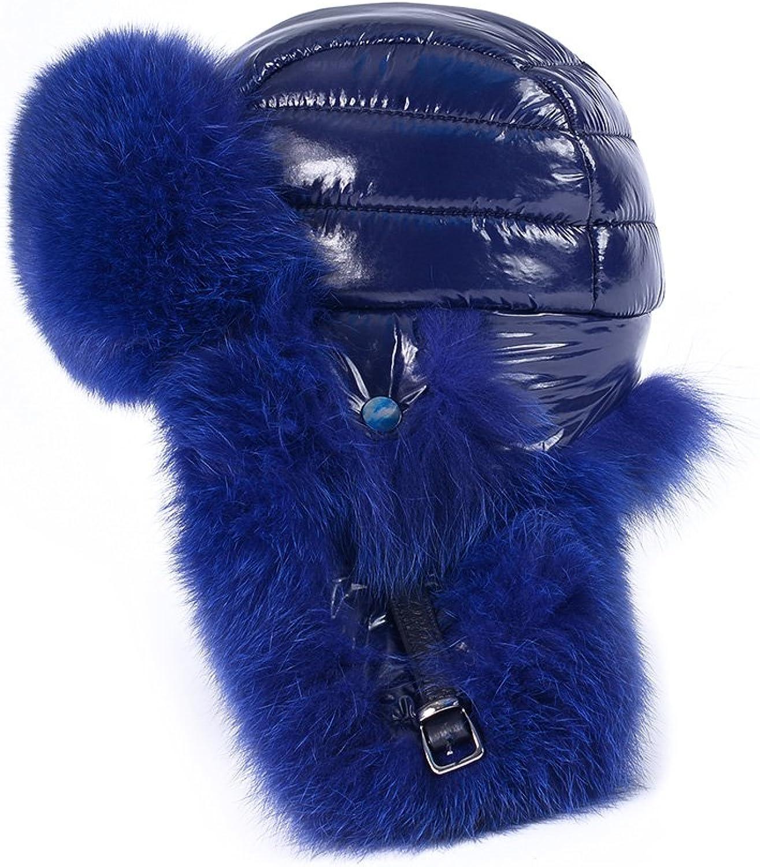 OrlovNY Women's Real Fox Fur Hats Earmuffs Warm Winter Hats In bluee