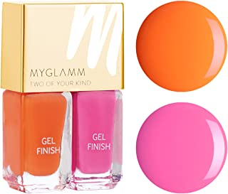 Myglamm Two Of Your Kind Bubble Gum and Tangerine Dream Nail Polish, Soft Pink/Vibrand Orange
