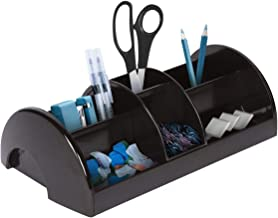Desk Organizer with Sliding Middle Section, Home Accessories Organizer for Remote Control, Mobile Phone, Mail, Media, and More. Works as a Nightstand Organizer, Cell Phone Desk Caddy, Livingroom Decor