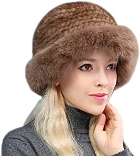 DTDYG18 Women's Real Mink Fur Hat Real Fox Fur Hat Brim Winter Warm Elegant