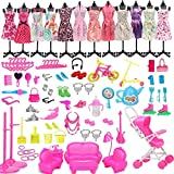 108PCS Accesorios para muñecas Juguetes, Muñecas Juego de moda para vestir muñecas, Ropa de mini trajes de fiesta, Juego de decoración de Barbie, Juego de accesorios de ropa para muñecas rubias, Acce