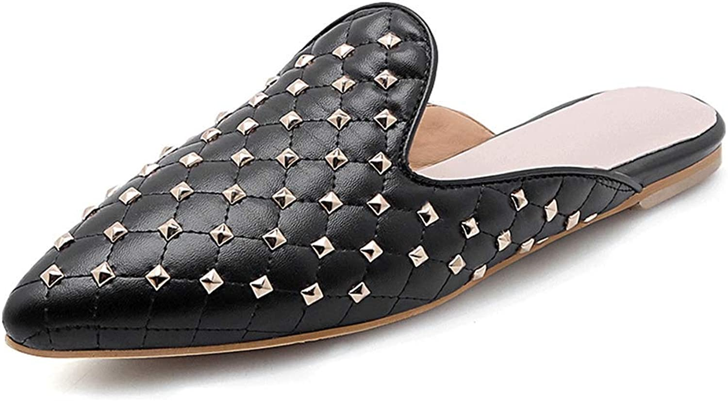 Beautiful - Fashion Women's Slides Flat Mules Soft Pointed Toe Flats Slippers Studded Backless Beaded Slip-on Loafers