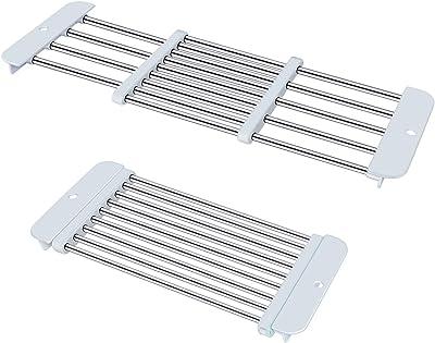 Kootek 2 Pack Dish Drying Rack - Adjustable Over The Sink Dish Rack Stainless Steel Drainer for Fruit Vegetable Cups Plates Utensil Cutlery