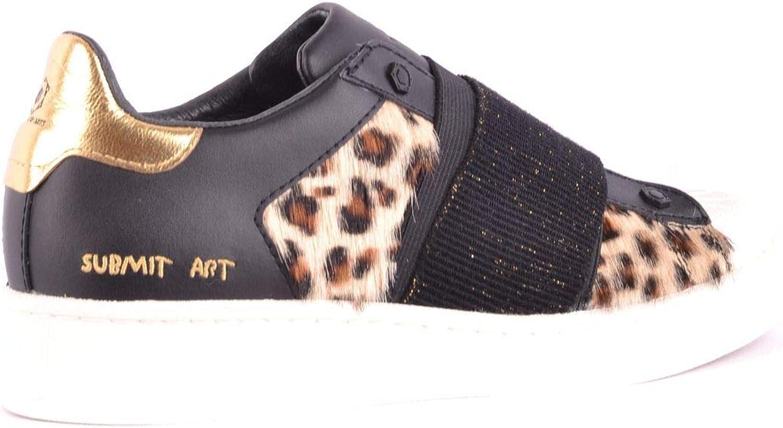 MOA Women's MCBI33182 Black Leather Sneakers