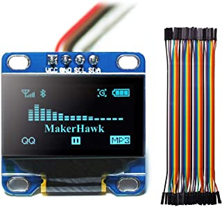MakerHawk Modulo Display OLED, SPI I2C IIC 128X64 Modulo Display a LED LCD per Arduino Uno R3 STM 0.96 Pollici e 40pcs Fil...
