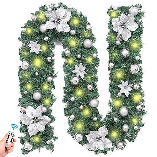 Treer Guirnalda de Navidad Decoración con luz, Guirnalda De Pino Artificial Flor De Navidad con Luz para Chimeneas Árbol Jardín Corona con Luz Colgante Adornos Xmas Decor (Blanco cálido,Plata)