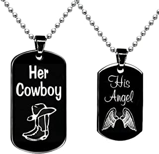 a848c316b6 BFF Jewelry A Set Engraved her Cowboy his Angel Necklace Square Necklaces  Black Dog Tag Pendant