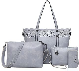 4 Pcs Women's Tote Bags Leather Handbags Top Handle Vintage Purse Crossbody Shoulder Bag Set