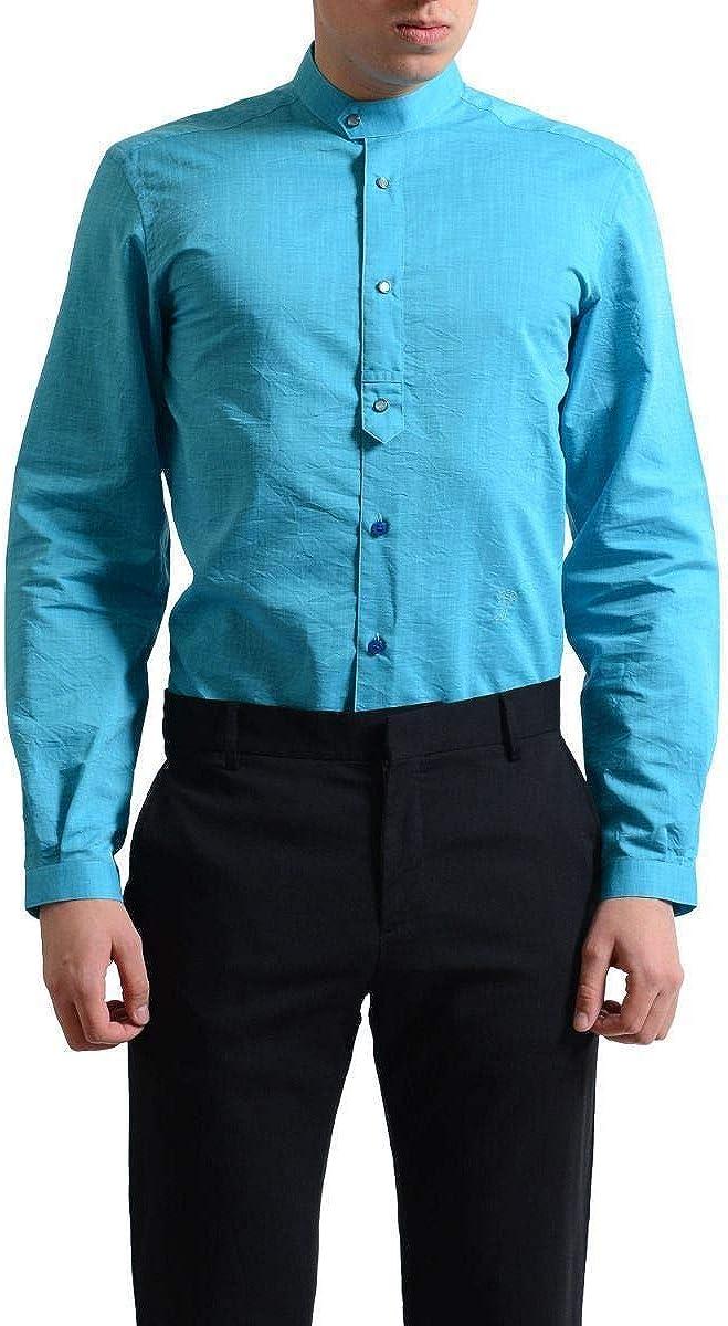 Versace Collection 'City' Men's Azure Button Down Dress Shirt US 15.75 IT 40