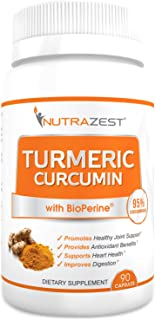 Nutrazest Organic Turmeric Curcumin - 500mg Turmeric Curcumin (95%) with BioPerine Black Pepper Extract for Inflammation Joints Pain Relief Digestive & CV Health Anti-Aging Benefits – 90 Capsules