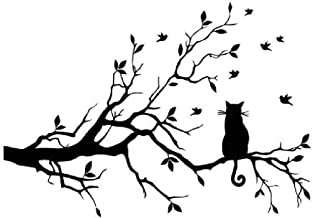 Papel pintado gato negro pegatinas de pared, rama vinilo decoración del hogar extraíble Mural DIY Decor