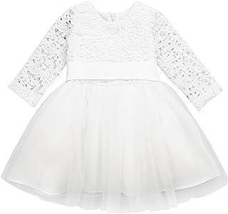 49135bbc69c TiaoBug Bébé Fille Robe de Baptême Dentelle Floral Robe de Soirée Cérémonie  Tutu Robe à Manches