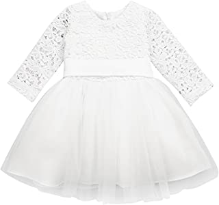 Newborn Baby Girls Embroidered 3D Flower Baptism Christening Gown Wedding Birthday Party Tutu Dress