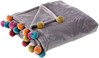 Hogar y Mas Manta de Sofa Gris, Tacto melocotón, con Pompones de Colores