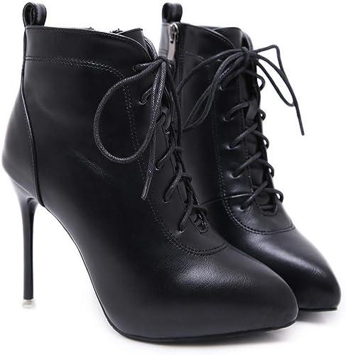 HBDLH Chaussures pour Femmes La Mode Martin Bottes avec des 11Cm Sexy Super Talon Haut Fine Cravate Le Talon Court Tête Pointue Imperméables Bottes.