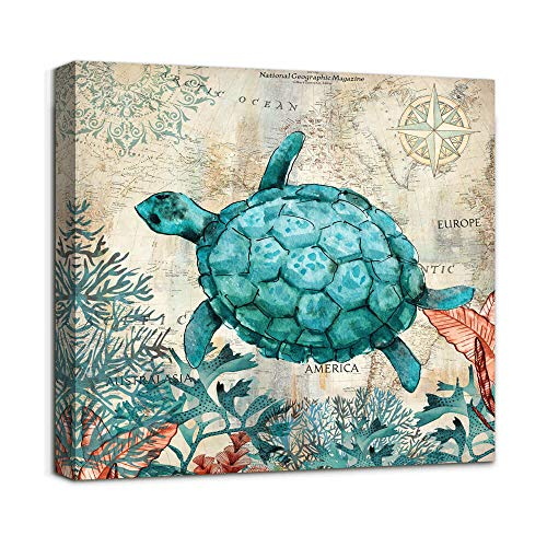 Beach Coastal Bathroom Wall Art Decor Canvas Print Sea Turtle Picture Framed Artwork Ready to Hang for Home Bedroom Living Room Wall Decoration 14X14