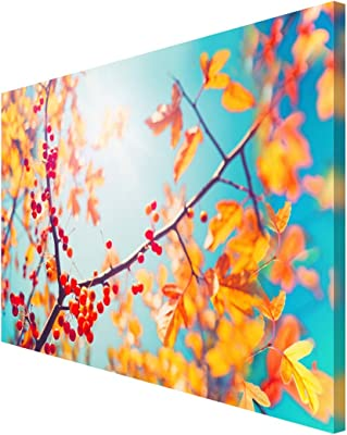 999Store wooden framed art painting framed paintings scenery for wall with frames wall scenery for living room Yellow Leaves and Blue Sky wall painting ( Canvas 24X36 Stretched) FLP24360035