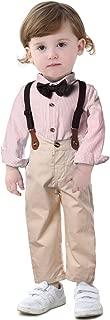 Anmino Baby Toddler Gentleman Suit Boys Stripe Bow Tie Shirt Suspender Khaki Bid Pants Overalls Sets