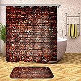 Cortina De Ducha,Personalidad Resistente Al Moho Moderna 3D Desigual Patrón De Pared De Ladrillo Rojo Impermeable Duradera Ganchos Para Cortinas De Baño Accesorios Home Essentials Protección Es