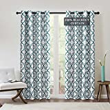 """Drewin Teal Blackout Curtains for Living Room 84 Inch Length Moroccan Gray Window Curtain 100% Room Darkening Thermal Insulated Drapes Noise Reducing Drapery, 2 Panels 52""""Wx84""""L"""
