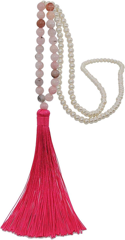 Bohemian Tribal Beige Long Tassel Yoga Jewelry Amazonite Stone Buddha Statement Necklace for Women Lariat Necklaces