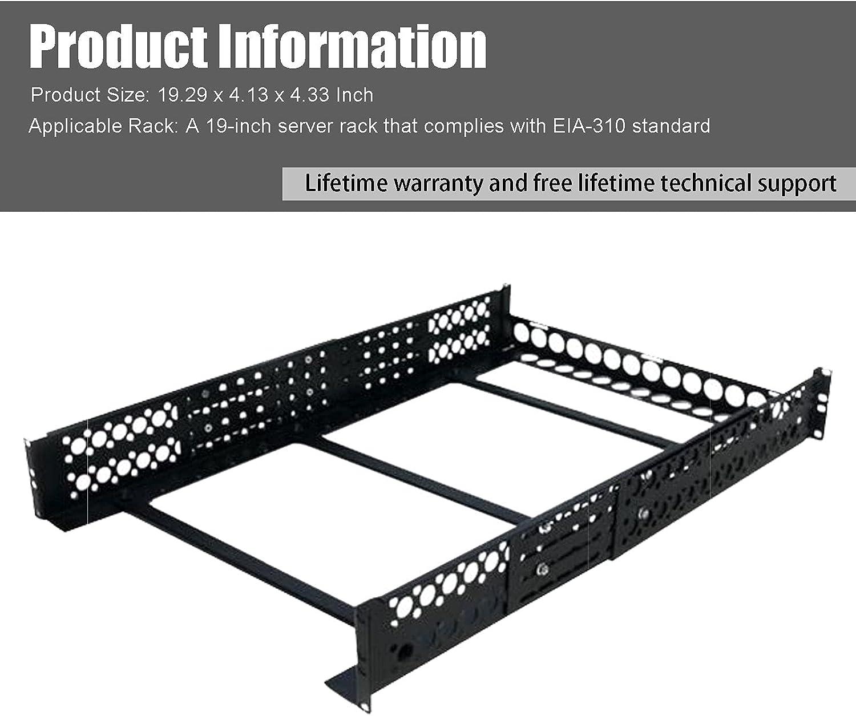 FerruNet2U Universal Rack Mount Rails - Adjustable A/V Rack Rails - for 19in Server Rack Enclosure or Cabinet,ApplytoSmall Office, Home Office.