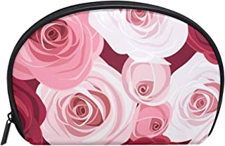 MASSIKOA Red And Pink Roses Floral Cosmetic Bag Travel Handy Organizer Pouch Makeup Bags Purse for Women Girls