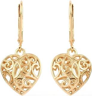 14K Yellow Gold 925 Sterling Silver Openwork Dangle Drop Heart Valentines Earrings Gift Jewelry for Women